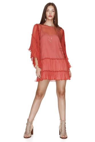 Brick-Orange Silk Chiffon Dress - PNK Casual