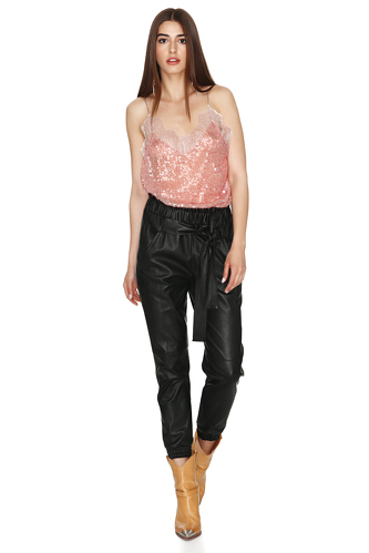 Pink Sequin Top With Chantilly Insertions - PNK Casual