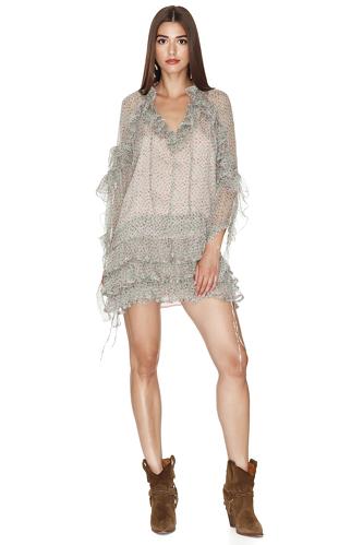 Print Rose-Green Ruffled Silk Mini Dress - PNK Casual