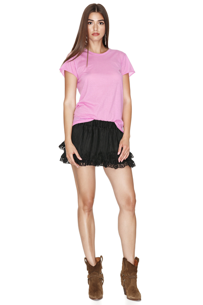 Fuchsia Cotton Basic T-shirt