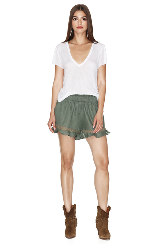 Linen Kaki Shorts With Cotton Lace Insertions - PNK Casual