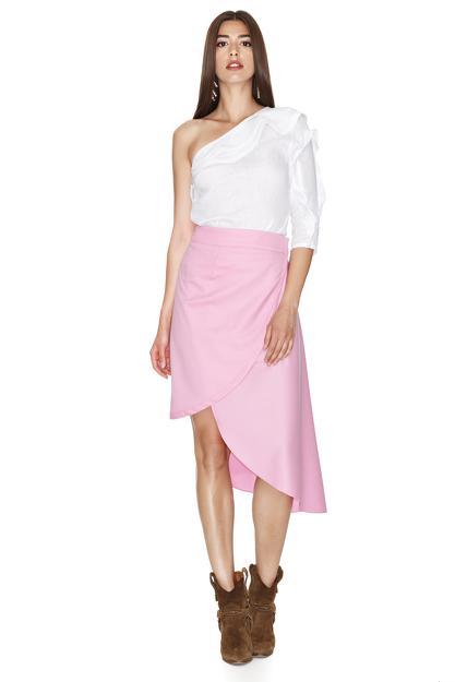 One Shoulder Linen White Top