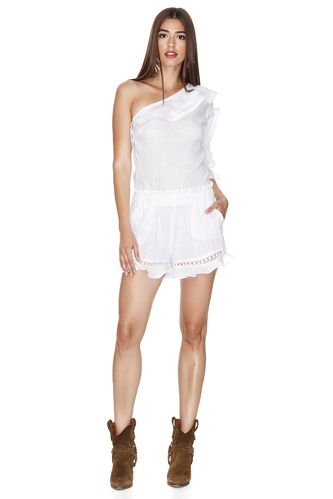 Linen White Shorts With Cotton Lace Insertions - PNK Casual