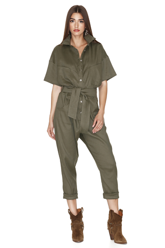 Army-Green Linen-Cotton Blend Cropped Jumpsuit - PNK Casual