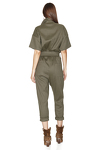 Army-Green Linen-Cotton Blend Cropped Jumpsuit