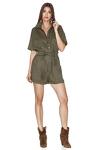Army-Green Linen-Cotton Blend Shorts Jumpsuit