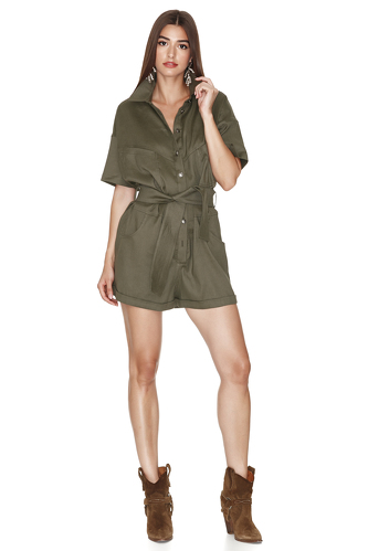 Army-Green Linen-Cotton Blend Shorts Jumpsuit - PNK Casual