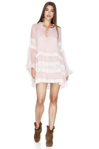 Rose Silk Chiffon Mini Dress - PNK Casual