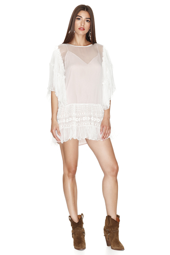 White Silk Chiffon Dress With Lace Insertions - PNK Casual