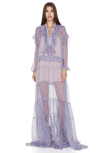 Lavender Silk Ruffled Maxi Dress - PNK Casual