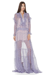 Lavender Silk Ruffled Maxi Dress