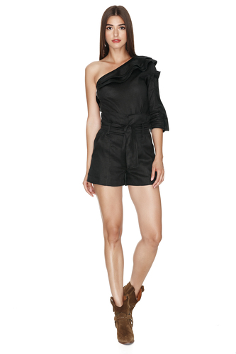 One Shoulder Linen Black Top - PNK Casual