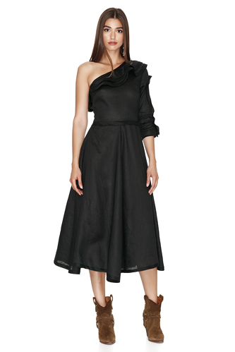 One Shoulder Linen Black Midi Dress - PNK Casual