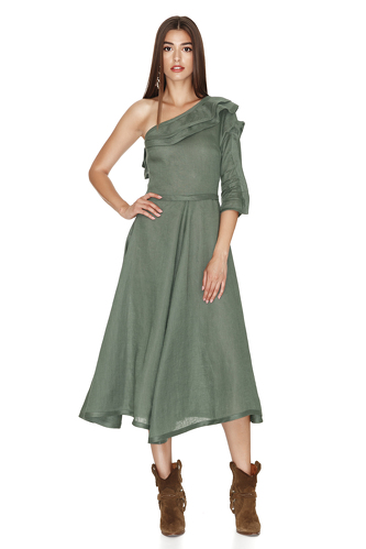 One Shoulder Linen Kaki Midi Dress - PNK Casual