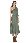 One Shoulder Linen Kaki Midi Dress