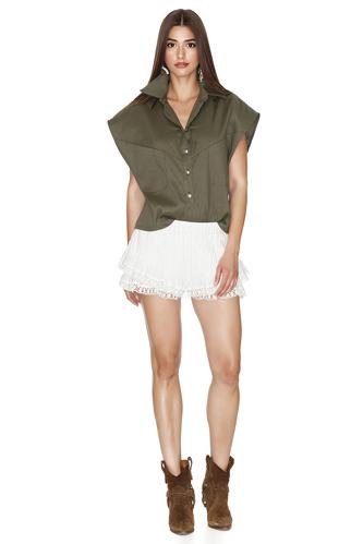 Army-Green Linen-Cotton Vest - PNK Casual