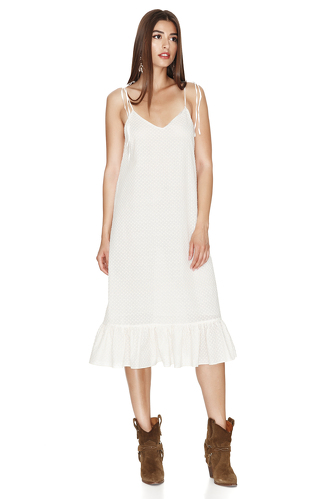 Off White Midi Dress With Straps - PNK Casual