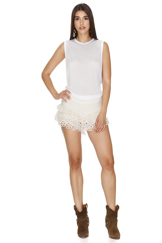 Off White Crocheted Lace Shorts - PNK Casual