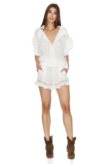 Cotton Withe Boho Shorts