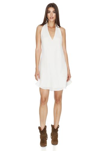 White Cotton Backless Mini Dress - PNK Casual