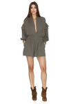 Army-Green Shorts Jumpsuit With Long Sleeves