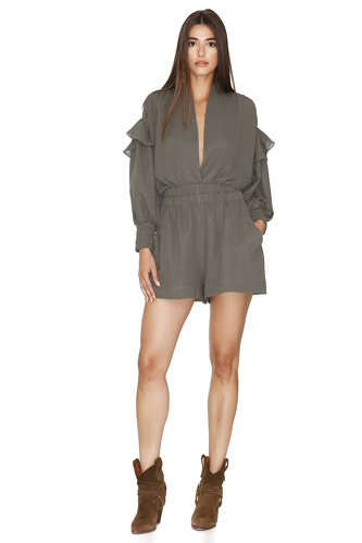 Army-Green Shorts Jumpsuit With Long Sleeves - PNK Casual