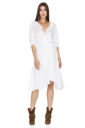 White Wrap Midi Dress - PNK Casual