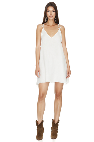 White Mini Dress with Adjustable Straps - PNK Casual