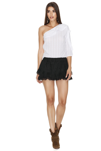 One Shoulder Cotton White Pleated Top - PNK Casual