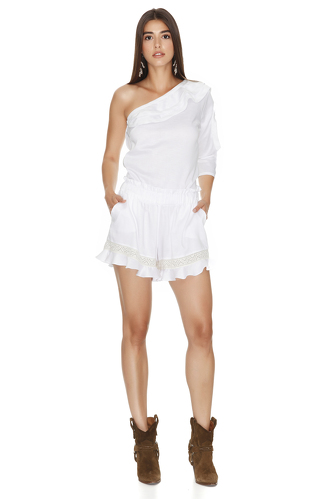 White Shorts With Lace Insertions - PNK Casual