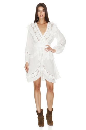 White Cotton Wrap-Effect Dress - PNK Casual