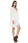 White Cotton Wrap-Effect Dress