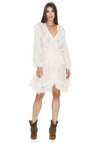 Light Rose Cotton Wrap-Effect Dress - PNK Casual