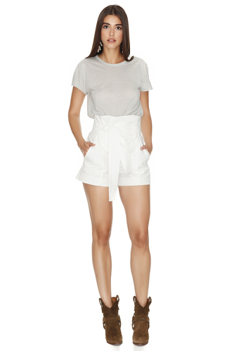 White Cotton Shorts - PNK Casual