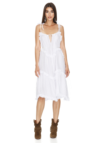 White Ruffled Dress with Adjustable Straps - PNK Casual