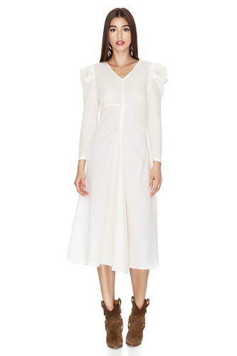 Off White Midi Dress With Oversized Shoulders - PNK Casual