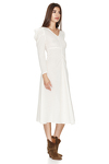 Off White Midi Dress With Oversized Shoulders