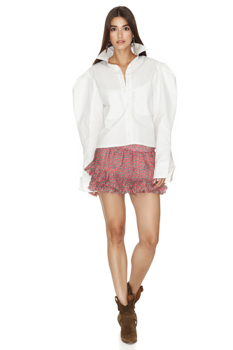 White Shirt With Oversized Shoulders - PNK Casual