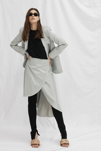Grey-Green Cutout Blazer - PNK Casual