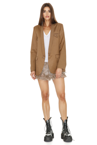 Brown Cutout Blazer - PNK Casual