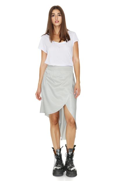 Asymmetrical Grey-Green Wrap Skirt