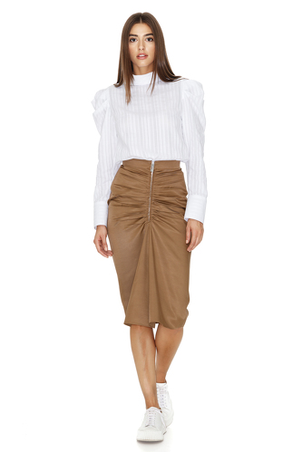 Brown Midi Skirt With Zipper detail - PNK Casual