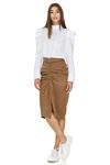 Brown Midi Skirt With Zipper detail