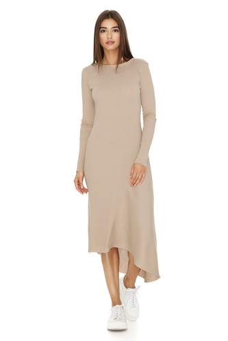 Ribbed Knit Cotton Midi Beige Dress - PNK Casual