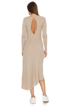 Ribbed Knit Cotton Midi Beige Dress