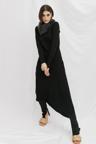 Ribbed Knit Cotton Midi Black Dress - PNK Casual