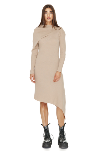 Ribbed Knit Cotton Asymmetrical Midi Beige Dress - PNK Casual