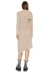 Ribbed Knit Cotton Asymmetrical Midi Beige Dress
