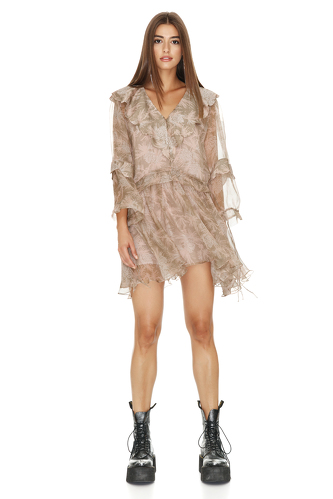 Oversized Collar Printed Brown Silk Mini Dress - PNK Casual