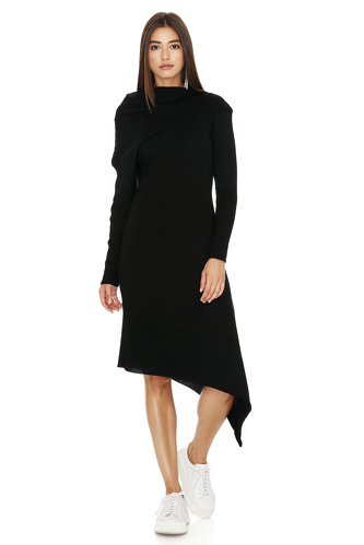 Ribbed Knit Cotton Asymmetrical Midi Black Dress - PNK Casual